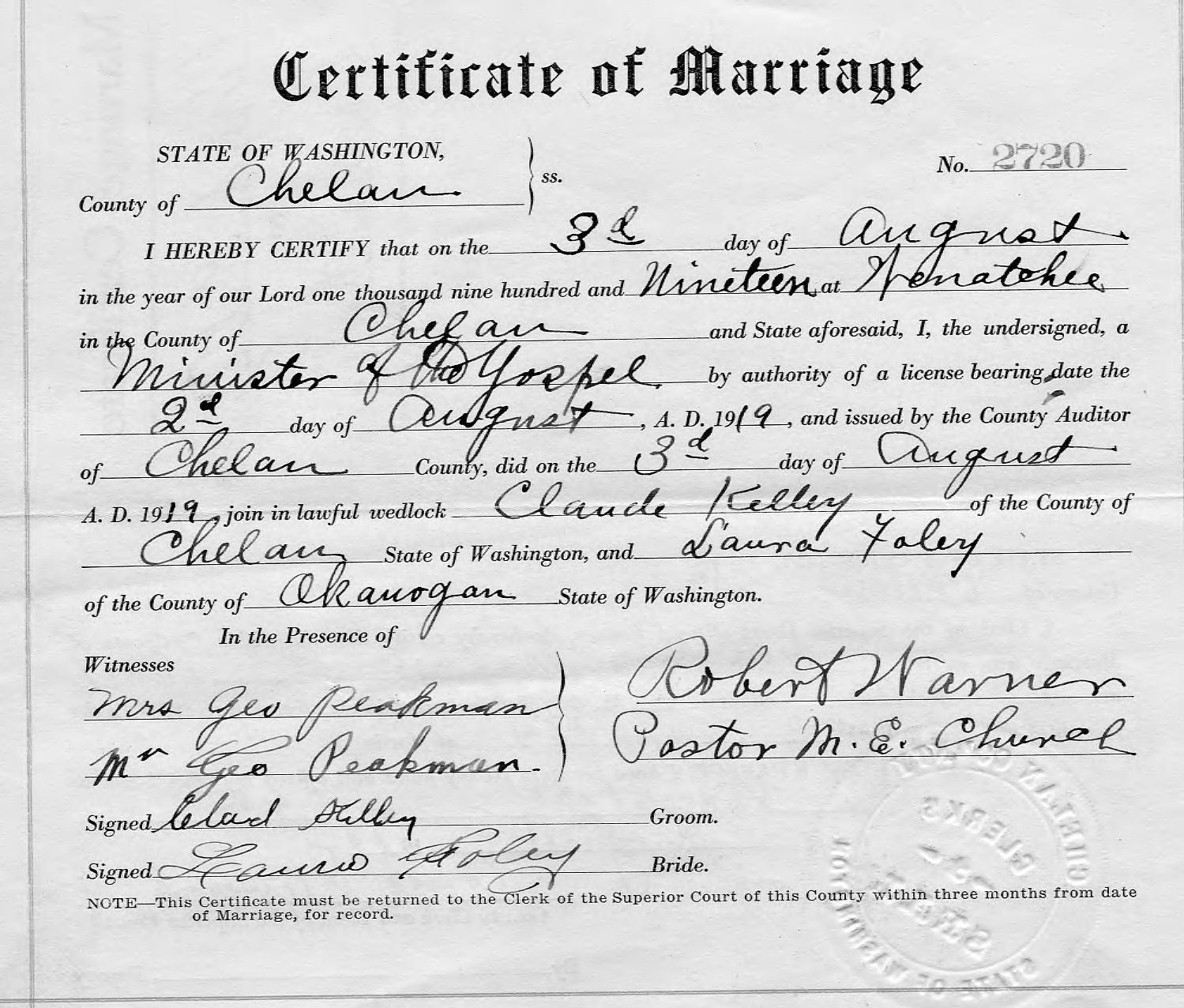 Myhamiltonfamily selected hamilton family documents page 8 laura foley and claude kelley marriage certificate chelan wa 8 3 1919 1betcityfo Choice Image