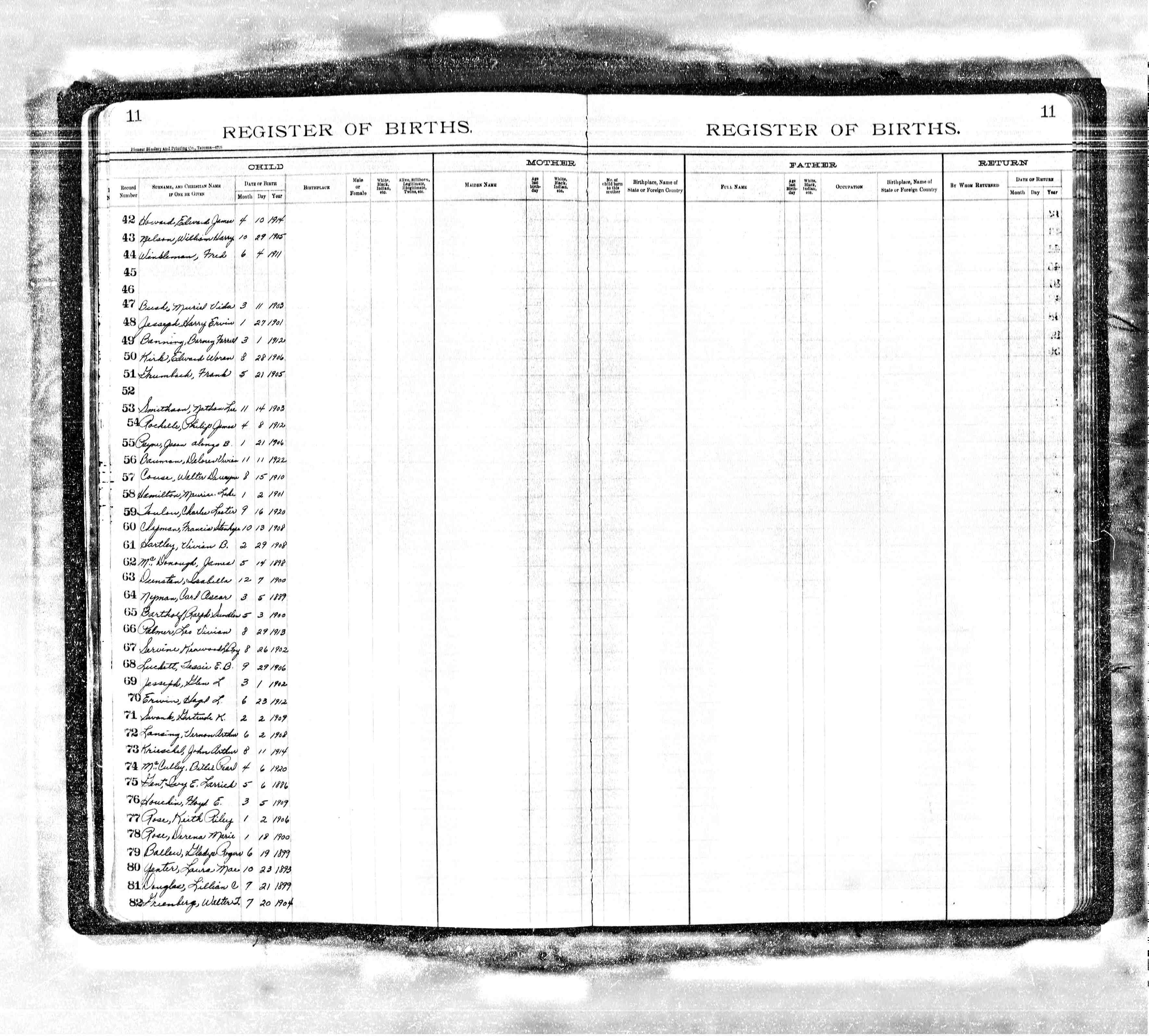 Myhamiltonfamily selected hamilton family documents page 8 maurice lake hamilton birth record washington state jan 2 1901 xflitez Choice Image